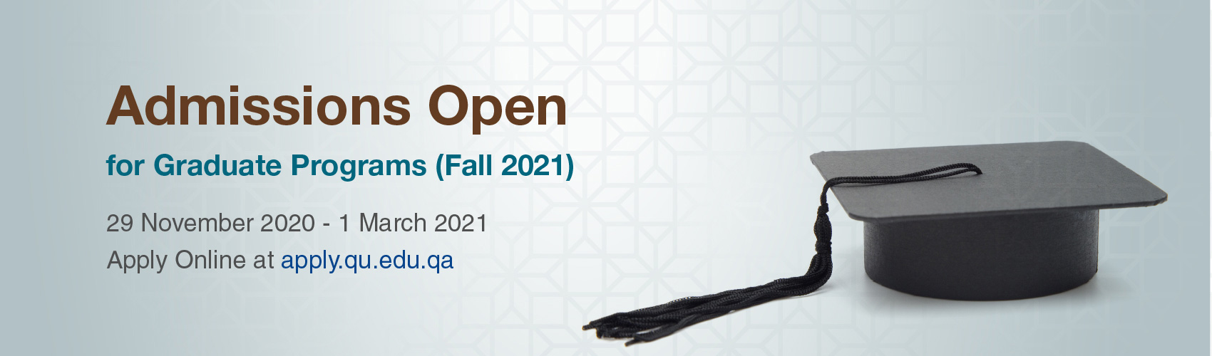 Admissions Open for graduate programs Fall 2021 from november 2020 till 1 March 2021