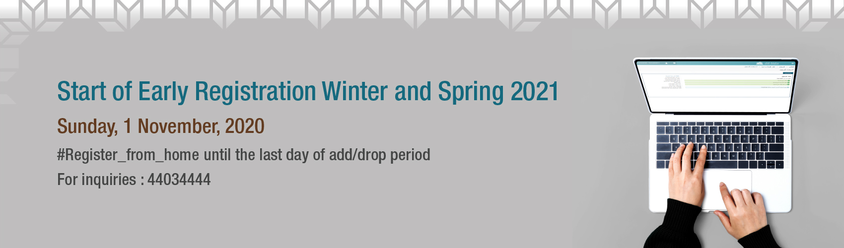 start of early registration winter and spring 2021